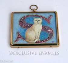 Sam The Cream Cat Hand Painted Watercolour On Ivorine Plaque By Judith Young