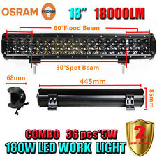 18 Inch 180W OSRAM Led Bar Flood Work Light 4WD ATV SUV Off-road Driving Lamp