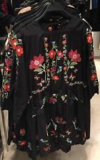 NWT ZARA BLACK DRESS EMBROIDERED FLORAL XS/24 RED BLUE WHITE TUNIC