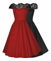 ELEGANT 50'S VINTAGE STYLE LACE INSERT PARTY COCKTAIL EVENING DRESS NEW 8 - 26
