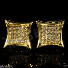 18k Gold ICED OUT Micropave Stud Kite Square HipHop Bling AAA CZ Mens Earring 5G