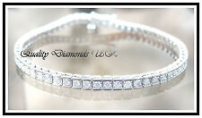 SPARKLING 2 CARAT GENUINE DIAMOND BRACELET 9K WHITE GOLD STUNNING SQUARE SET