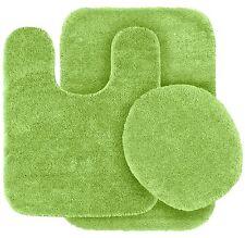 3PC #6 LIME GREEN SOLID PLAIN BATHRUG CONTOUR TOILET LID COVER BATHROOM SET