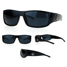 SA106 Pot Leaf Marijuana Gangster Narrow Rectangular Plastic All Black Sunglasse