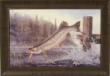 TIGER IN THE MIST by Terry Doughty 20x29 FRAMED PRINT Musky Muskie Fishing
