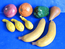 Vintage Artificial CERAMIC FRUIT Lot Turnip Orange Pepper Pear Squash Bananas