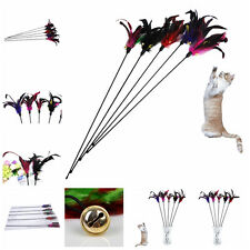 Funny Pet Cat Play Stick Feather Teaser Pole Rod Wand Playing Toy With  tre