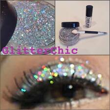 Glitter Eye Shadow Chunky Holographic Silver LARGE 10g+ Stargazer Fix Gel +Wand