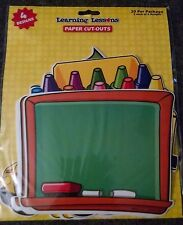 Learning Lesson Paper Cut Out - Chalk Board, Bus, Apple, Crayons 20 ct New