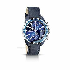 NEW Chronotech CT.7239M/03 Men's Blue Textured Chronograph Sports Leather Watch