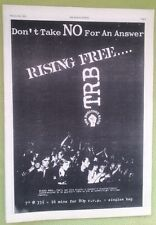 TOM ROBINSON BAND Rising Free 1978 UK Poster size Press ADVERT 16x12 inches