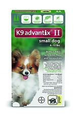 K9 Advantix II Small Dogs (Under 4 - 10 lbs, 2 Month Supply) USA EPA Approved