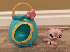 Littlest Pet Shop #1083 Pink Shimmer Persian Kitty Cat with pet carrier