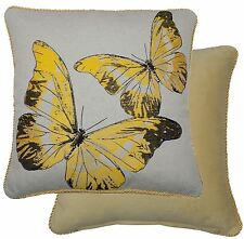 """TAPESTRY COTTON VELVET BUTTERFLY YELLOW GOLD BEIGE THICK CUSHION COVER 18"""" 45CM"""