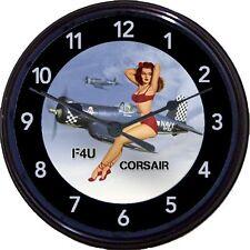 "Corsair F4U Airplane Nose Art Pinup Wall Clock Navy WWII Korean War Man Cave 10"""
