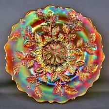 "CARNIVAL GLASS - FENTON HOLLY aka HOLLY & BERRIES Stunning Marigold 9"" Plate"