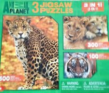 2009 ANIMAL PLANT PUZZLES (3 IN 1) 100, 300 AND 500 PIECES THREE BIG CATS