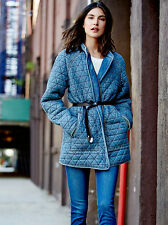 NEW FREE PEOPLE BLUE CHAMBRAY QUILTED JACKET SZ XS EXTRA SMALL