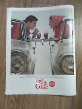 1965 Coke Coca-Cola Soda Pop Ad Couple in Convertible at the Drive Up