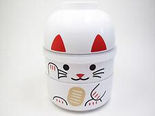 NEW! BENTO LUNCH BOX - KOKESHI Manekineko Maneki Neko Lucky Cat Microwave White