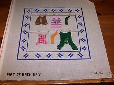 Hand Painted Needlepoint Canvas Wash Day Laundry Hanging on the Line to Dry