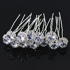 12pcs Wedding Bride Crystal Hair Pins Clips Prom Party Hairpins Accessory