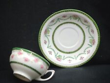 Vintage Beyer & Bock China Cup & Saucer Set Royal Rudolstadt Prussia Green Band