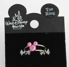 NEW Disney Toe Ring - 925 Sterling Silver Pink Austrian Crystals Mickey Mouse
