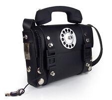 Hi Tek black leather telephone handle punk unisex satchel shoulder bag handbag