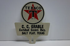 "License Plate Topper TEXACO CARLSBAD SALT FLAT TEXAS  5 1/2"" High by 4 1/2"" Wide"