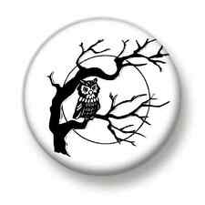 Owl In Tree 1 Inch / 25mm Pin Button Badge Cute Owls Birds Of Prey Kitsch Fun