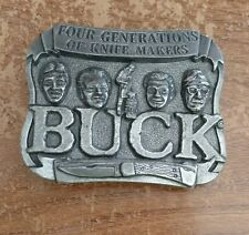 Buck Knives Metal Belt Buckle, Four Generations of Knife Makers