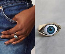 Gothic Ring Blau Augen Metall Fingerring Rock Bronze Schmuck Halloween Mode