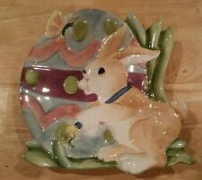 """Fitz and Floyd """"Painting Easter Eggs"""" Bunny Rabbit Canape/Dessert Plate Spring"""