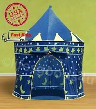 PORTABLE FOLDING BLUE PLAY TENT CHILDRENS KIDS CASTLE CUBBY PLAY HOUSE...