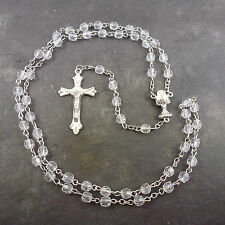 Clear faceted plastic Communion rosary beads 50cm length chalice junction center