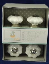 4 Instant Furniture Update Ceramic Drawer Pulls Knobs White w/ Silver