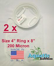 """2x Filter Sock 4"""" Ring x 8"""" 200 Micron Mesh Polyester High Quality Aquarium  Bag"""