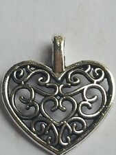20 X TIBETAN SILVER PLATED FILIGREE HEART CHARM PENDANTS