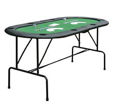 New Folding 2 in 1 Poker Blackjack Card Table W/ 8 Player Cup Holders Folding