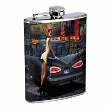 Waitress Pin Up Girls D10 Flask 8oz Stainless Steel Hip Drinking Whiskey Costume