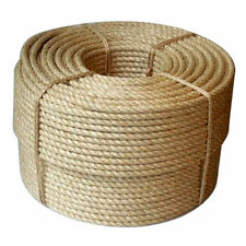 50m Coil of 6mm Natural Pure Jute Rope 3 Strand Braided Twisted Cord Twine Sash