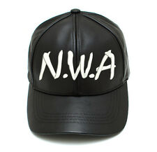 Real Leather N.W.A NWA Niggaz Wit Attitudes cap hat Black MADE IN USA RARE