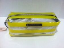 Victoria's Secret Cosmetic Bag Yellow Clear Striped New.