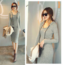 Mid Length Fitted Ribbed Cotton Knit Hoodie Dress US 4-6 (S)