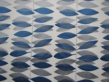 SANDERSON CURTAIN/UPHOLSTERY FABRIC MIRO 3.2 METRES BLUE AND SILVER CUT VELVET