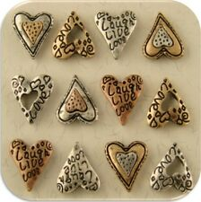 "2 Hole Beads Mini Hearts ""Live Laugh Love"" Engraved Filigree 3T ~ Sliders QTY 12"