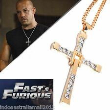 5x THE FAST and FURIOUS 7 Dominic Toretto's CROSS Gold Pendant Chain Necklace