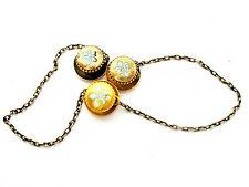 Victorian 14K Gold Collar Buttons with Chain Tuxedo Stud Enamel Fleur de Lis