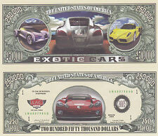 100 Exotic Cars Novelty Funny Money Bills Lot
